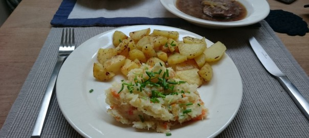 Stoofvlees met aardappeltjes en pastinaakpuree