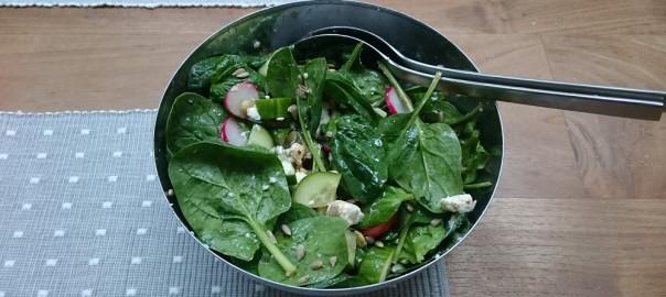 Salade van spinazie met geitenkaas, tomaatjes, komkommer en radijs