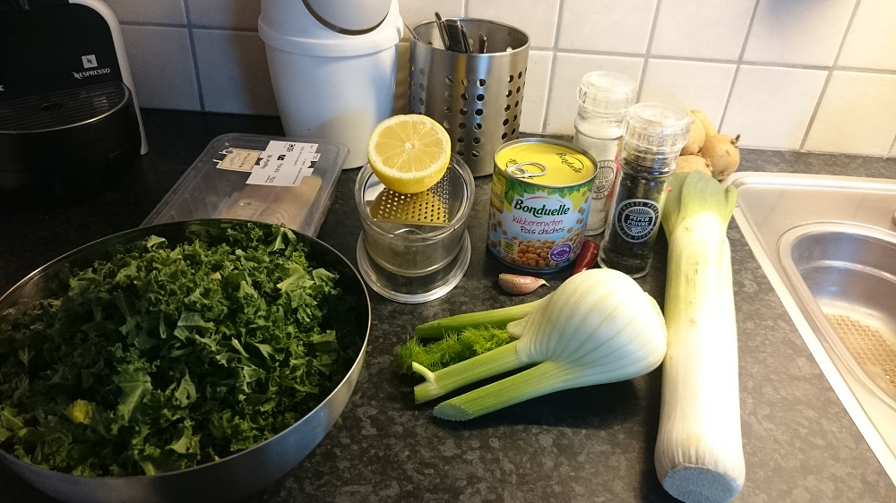 Benodigdheden voor Pangagius visfilet recept met venkel uit de oven met boerenkool, venkel, prei en aardappeltjes