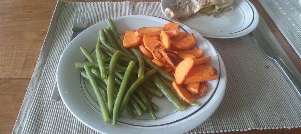 Forel uit de oven met zoete aardappel en boontjes