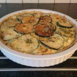 Quiche met courgette, chorizo, paprika en mozzarella
