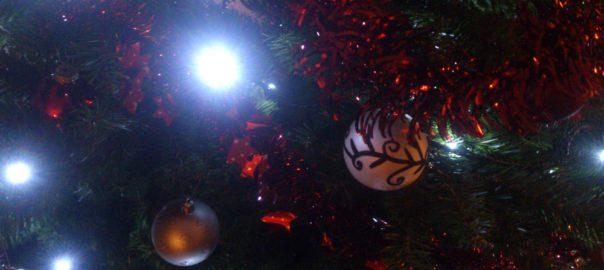 Kerstboom en kerstballen
