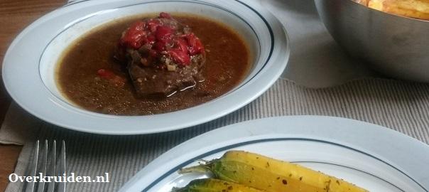 Stoofvlees met o.a. geroosterde paprika