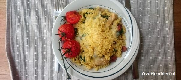 gemakkelijke pasta met kipdijflet en een romige kaassaus
