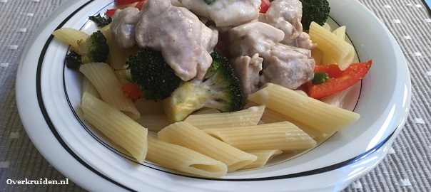 Penne met geroosterde groentes en kip in een creme fraiche sausje