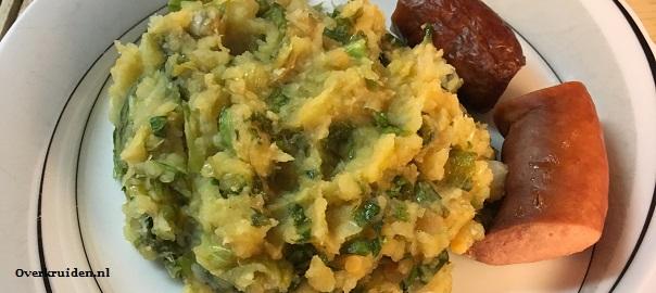 Stamppot bloemkool, andijvie, zoete en gewone aardappel