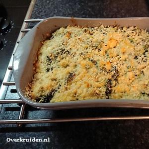 Broccoli met kaas en rijst uit de oven
